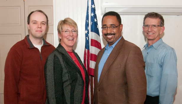 Newly-elected officers of the Republican Party of Kalamazoo County (KGOP). The 42-member Executive Committee of the KGOP elected new leadership at its December 13 meeting. From left, Allan Bickle, Secretary; Melanie Kurdys, Vice-Chair; David Worthams, Chairman; and Stan Runyon, Treasurer. They will serve a two-year term. Photo by Anthony Dugal.