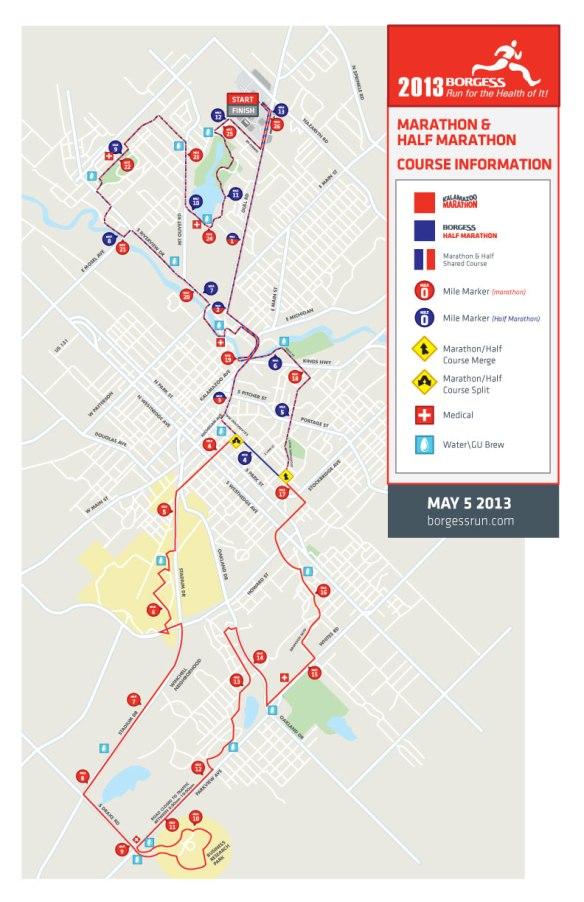2013 Kalamazoo Half-Marathon & Marathon course