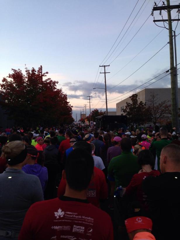 The Start of the 10-20-13 Grand Rapids 1/2 Marathon