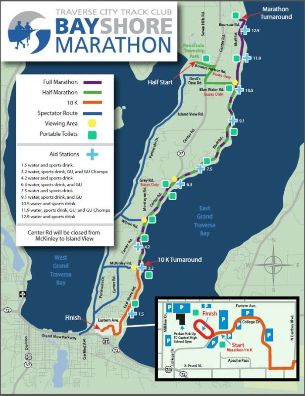 2014 Bayshore 1/2 Marathon Course Map