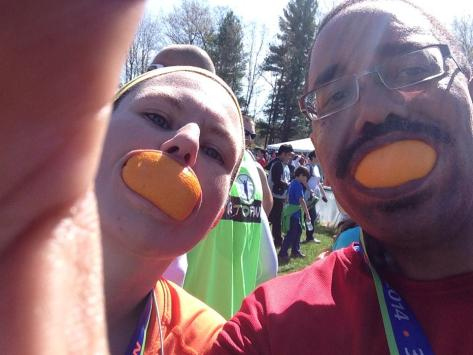The traditional orange in our mouths picture!
